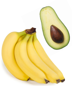 Banana and avocado