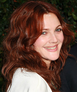 Drew Barrymore red hair, June 2012