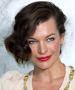 Milla Jovovich side part, July 2012
