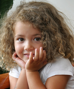 Curly kid with tangled hair