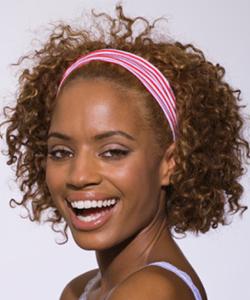 Curly girl wearing a headband