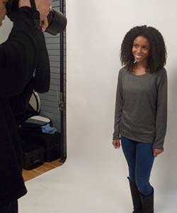 Model at L'Oreal Paris EverCurl video shoot