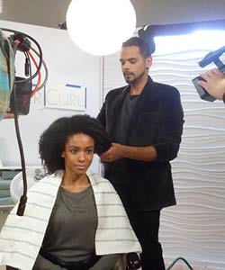 Coily Hair Model & Stylist at L'Oreal Paris EverCurl video shoot