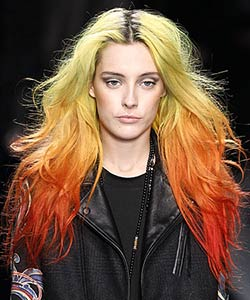 Nicole Miller rainbow haired model at New York Fashion Week Fall 2013