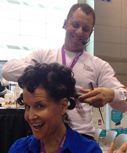 Michelle Breyer getting her hair styled at ABS
