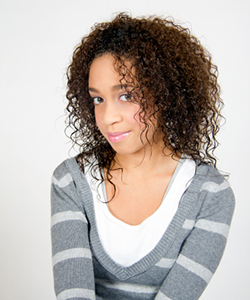Curly haired young woman