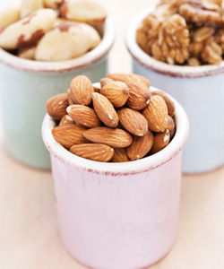 Cups of almonds and silica rich nuts
