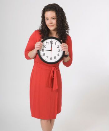 curly girl with clock