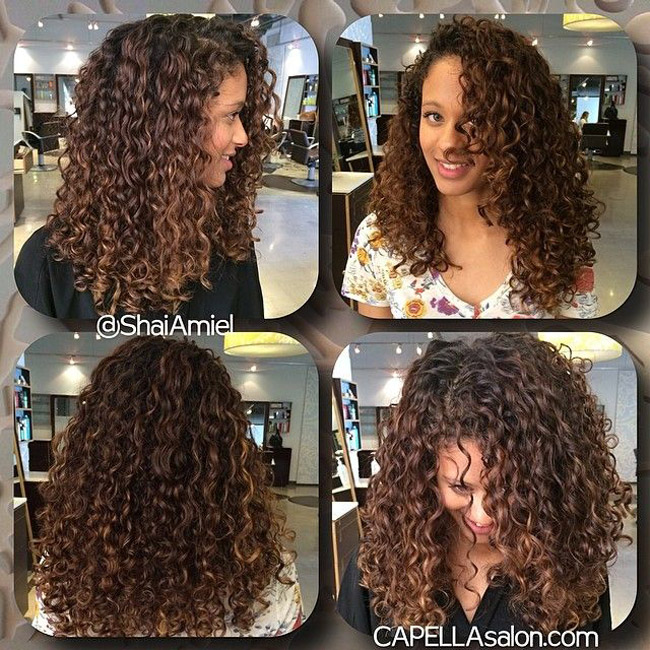 Dark Curly Hair With Caramel Highlights Hairs Picture Gallery