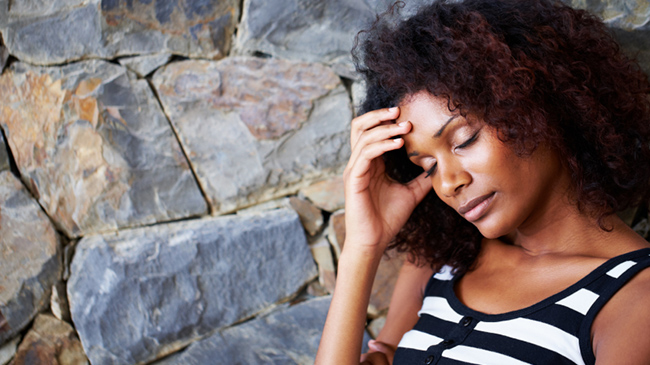 stressed natural hair woman