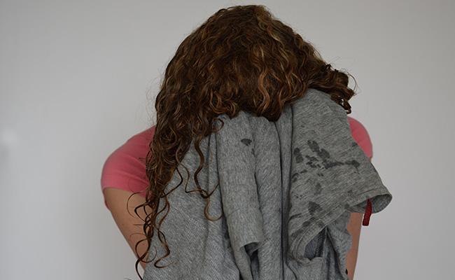 wet curly hair