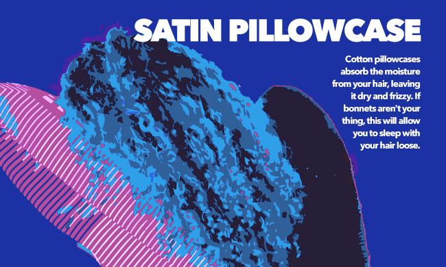 curl woman sleeping on a satin pillowcase