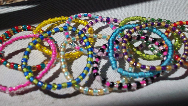 A set of patterned beaded bracelets made by the author.